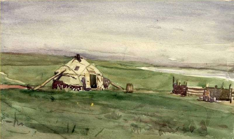 Юрта в степи акварель 1952-54 гг